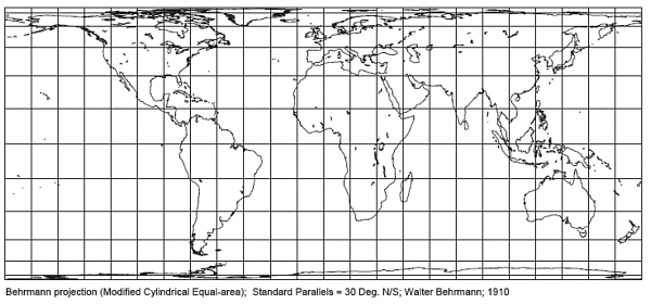 Behrmann Cylindrical Equal Area Projection