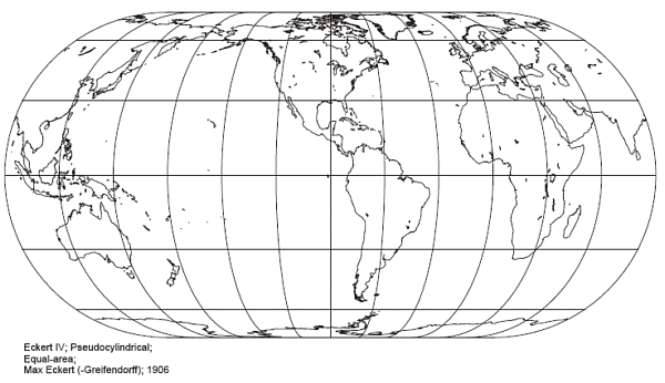 Eckert IV Pseudo-Cylindrical Projection