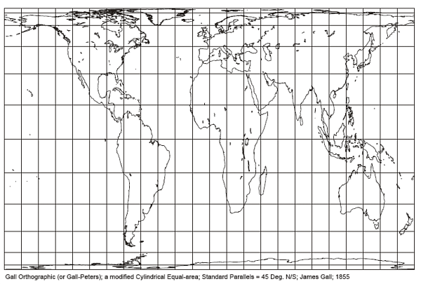 Gall-Peters Cylindrical Equal Area Projection