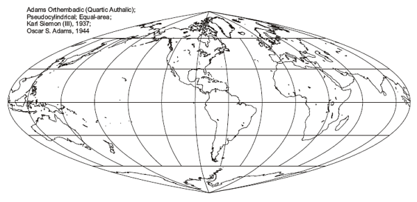 Quartic Authalic Pseudo-Cylindrical Projection