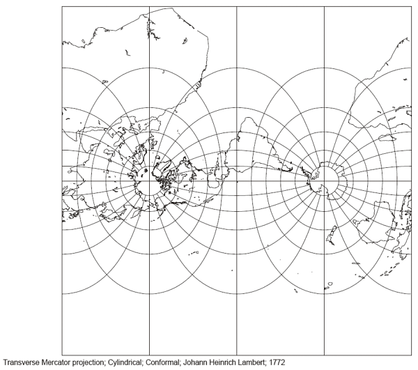 Lambert's Transverse Mercator Projection with a polar aspect
