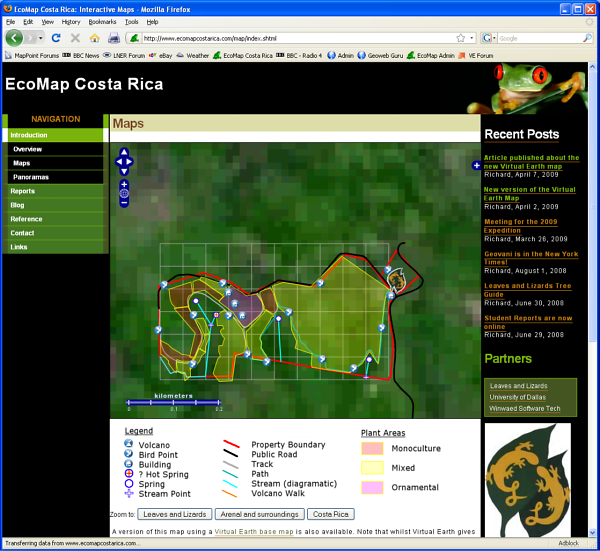 Screenshot of the EcoMap Costa Rica OpenLayers example